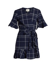 Sea V Neck Windowpane Plaid Cotton Dress Navy