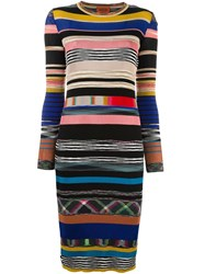 Missoni Striped Fitted Midi Dress Multicolour