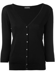 John Smedley V Neck Cardigan Women Cotton L Black