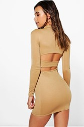 Boohoo Katy Long Sleeve Turtle Neck Backless Strap Dress Camel