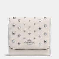 Coach Small Wallet In Polished Pebble Leather With Ombre Rivets Silver Chalk
