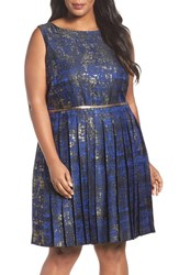 Tahari Plus Size Women's Metallic Jacquard Pleat Fit And Flare Dress