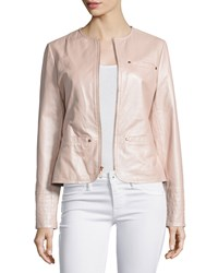 Neiman Marcus Pearlized Leather Jacket Blush Women's