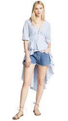 English Factory Striped High Low Top Blue