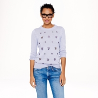 J.Crew Jeweled Cluster Sweater In Lavender