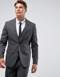 Farah Winter Wedding Skinny Suit Jacket In Fleck Charcoal Grey