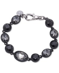 Dkny Hematite Tone And Black Rubber Colored Stone Flex Bracelet Created For Macy's Grey