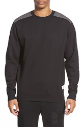 Bellfield Crewneck Sweatshirt With Shoulder And Elbow Patches Black
