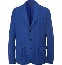 Haider Ackermann Blue Unstructured Stretch Cotton And Linen Blend Blazer Cobalt Blue