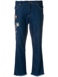 Zadig And Voltaire Embroidered Skeleton Cropped Jeans Cotton Polyester Spandex Elastane Modal Blue