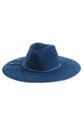 Emilio Pucci Suede Fedora With Leather Trim Blue