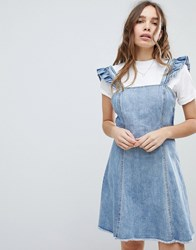 Only Cami Ruffle Denim Pinafore Dress Blue