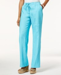 Jm Collection Drawstring Waist Linen Pants Only At Macy's Turquoise Pool