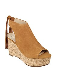 Marc Fisher Sueann Suede Tassel Platform Wedge Sandals Brown