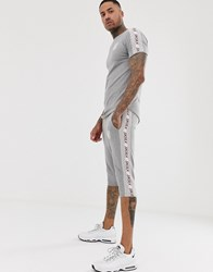 Sik Silk Siksilk Co Ord T Shirt In Grey With Side Stripe
