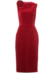 Martin Grant Rose Detail Midi Dress Cotton Linen Flax Red