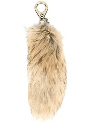 Moncler Fur Charm Keyring Nude And Neutrals