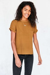 Silence And Noise Modern Woven Tee Green
