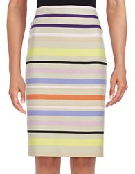Lord And Taylor Sunset Striped Pencil Skirt Beige