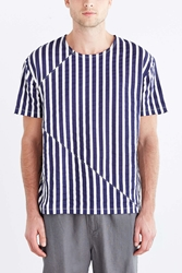 Your Neighbors Blocked Vertical Stripe Oversized Tee Navy