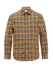 Burberry House Check Print Brushed Cotton Shirt Camel