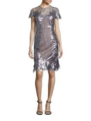 Rene Ruiz Sequin Lace Sheath Dress Silver