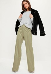 Missguided Tall Exclusive Green Satin Wide Leg Trousers