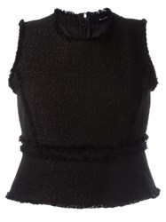 Proenza Schouler Frayed Woven Tank Top Black