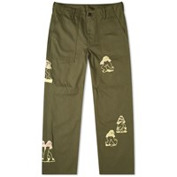 Brain Dead Mushroom Embroidered Military Pant Green