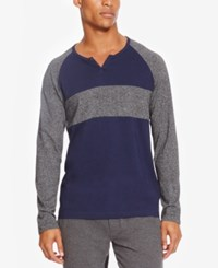 Kenneth Cole Reaction Men's Marled Colorblocked Henley Indigo