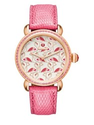 Michele Exotic Creatures Flamingo Diamond Pink Topaz 18K Rose Goldplated Stainless Steel And Lizard Stra