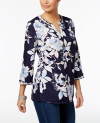 Charter Club Floral Print Tunic Only At Macy's Intrepid Blue Combo