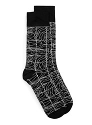Topman Black And White Grid Map Socks