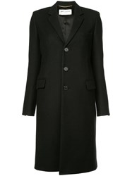 Saint Laurent Single Breasted Fitted Coat Black