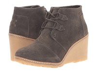 Toms Desert Wedge Tarmac Olive Suede Faux Crepe Wedge Women's Wedge Shoes Brown