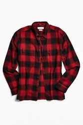 Urban Outfitters Uo Buffalo Shadow Plaid Flannel Button Down Shirt Red