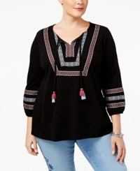 Styleandco. Style Co. Plus Size Embroidered Peasant Top Only At Macy's Abstract Black