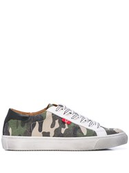 Veronica Beard Camouflage Lace Up Sneakers Green
