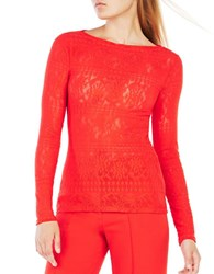 Bcbgmaxazria Wylie Long Sleeve Lace Top Bright Red