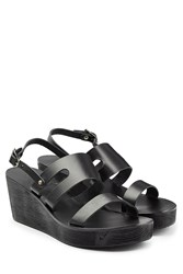 Ancient Greek Sandals Leather Wedge Sandals Black