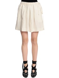 J.W.Anderson Linen And Silk Shorts W Leather Pocket White