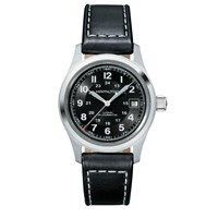 Hamilton H70455733 Men's Khaki Field Automatic Date Leather Strap Watch Black