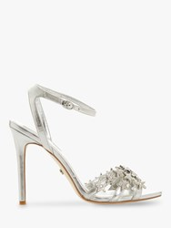 Dune Magick Star Embellished Stiletto Heeled Sandals Silver Leather