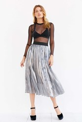 J.O.A. Pleated Metallic Midi Skirt Silver