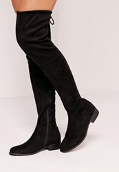 Missguided Flat Over The Knee Boots Black Black