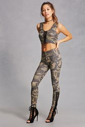 Forever 21 Camo Lace Up Leggings Olive