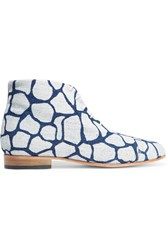 Dieppa Restrepo Tiber Printed Denim Ankle Boots Blue