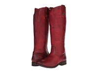 Frye Melissa Button Burgundy Washed Antique Pull Up Cowboy Boots Red