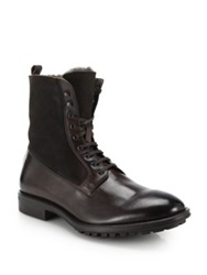 To Boot Edwards Shearling Lined Leather Boots Black Dark Brown