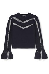 Self Portrait Lace Trimmed Ruffled Cotton And Wool Blend Sweater Navy